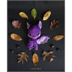 Purple rainy Batty - peluche toute douce