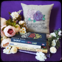 Librarian Flowers - embroidered pillow case