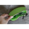 Étui à lunettes vert à pois