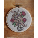 """death before decaf"" embroidered hoop"