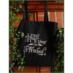 Embroidered tote bag : Home is where the witches are