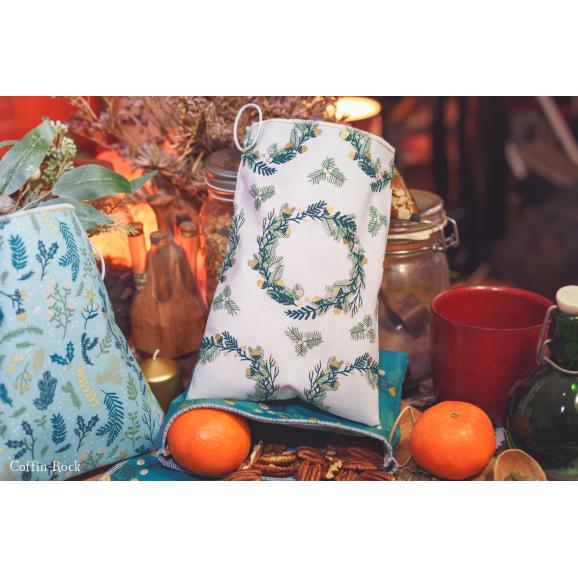 - Jour 13 - petit sac à vrac blanc et couronne hivernale