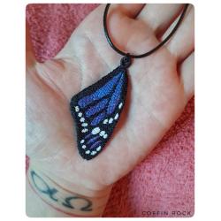 Collier aile de Monarque bleu