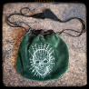 Embroidered purse : skull