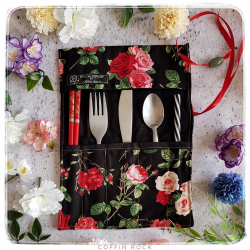 English roses cutlery lunch pouch