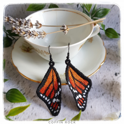 Boucles d'oreilles Monarque orange