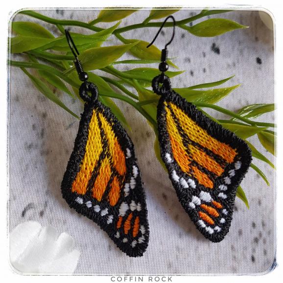 yellow-orange monarch earings