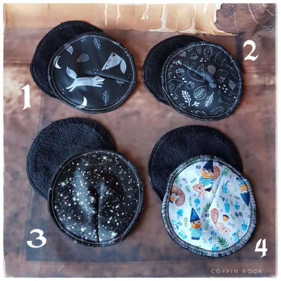 différents motifs : coussinets d'allaitement lavables