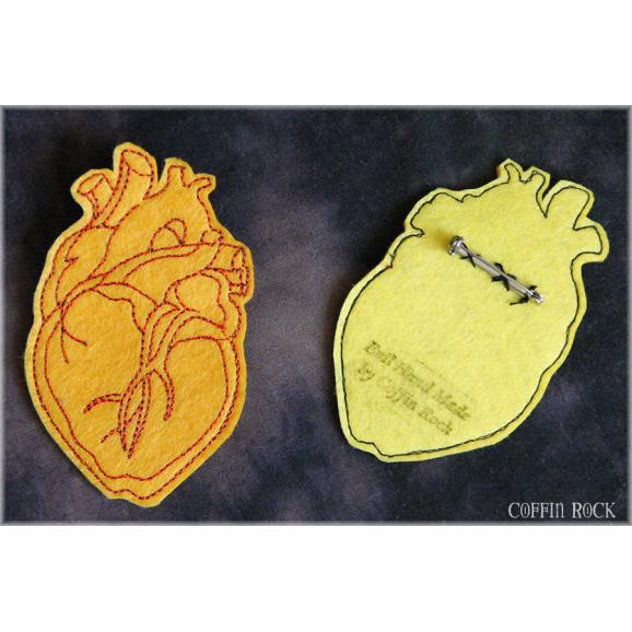 Coeur anatomique - orange et rouge