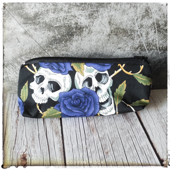 skulls and blue flowers pencil case