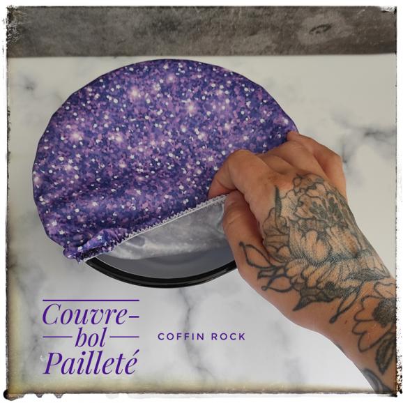 couvre-bol paillettes violettes