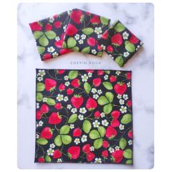 strawberries cotton handkerchief